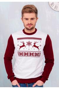Світшот чоловічий «Різдвяний» білого кольору
