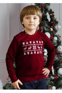 Свитшот детский «Рождественский» бордового цвета