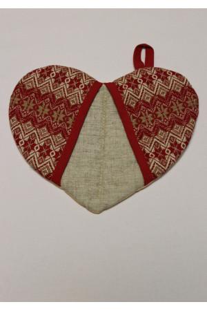 Прихватка «Сердечко» с красным орнаментом
