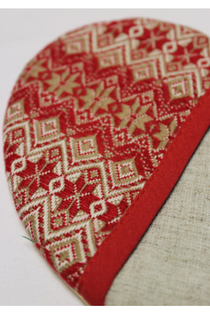 Прихватка «Сердечко» з червоним орнаментом