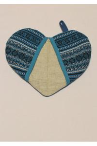Прихватка «Сердечко» з синім орнаментом