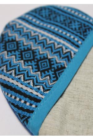 Прихватка «Сердечко» с синим орнаментом