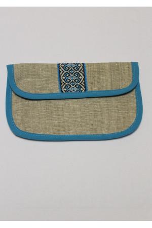 Льняная косметичка с синим орнаментом