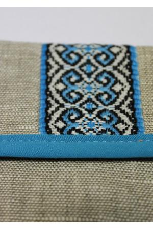Лляна косметичка з синім орнаментом