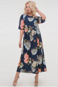Платье «Тори» с голубыми цветами