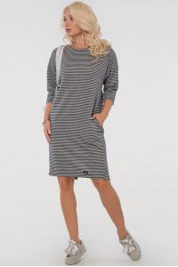 Сукня «Лойс» сірого кольору у синю смужку