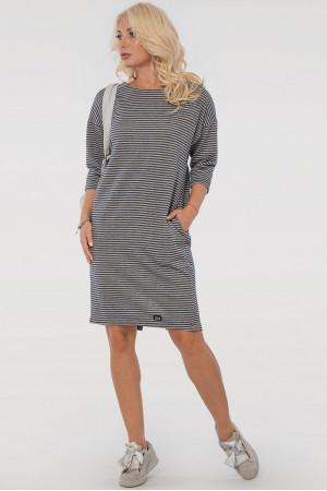 Платье «Лойс» серого цвета в синюю полоску