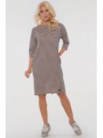 Платье «Лойс» цвета пудры в синюю полоску
