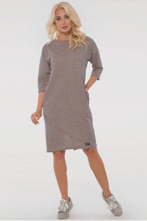 Сукня «Лойс» кольору пудри у синю смужку