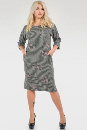 Сукня «Шанія» сірого кольору в смужку