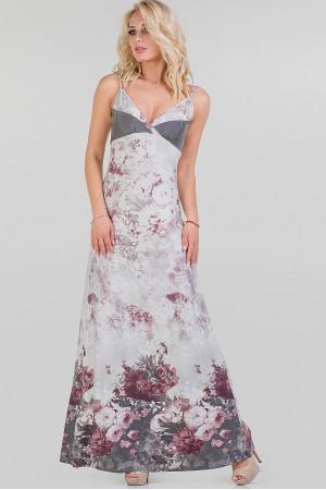 Платье «Кливс» серое с розовым