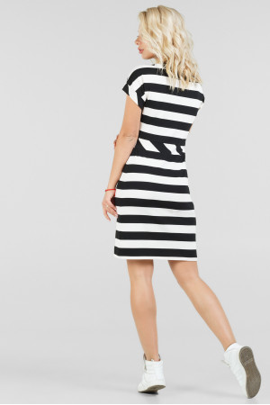 Платье «Корд» черное с белым