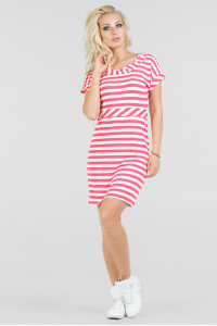 Платье «Корд» розовое с белым