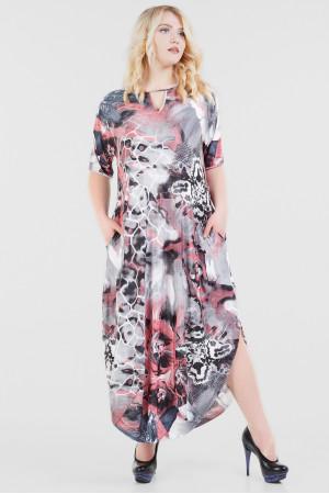 Сукня «Ніколь-літо» сірого кольору з рожевим