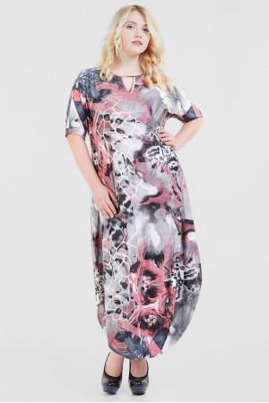 Платье «Николь-лето» серого цвета с розовым