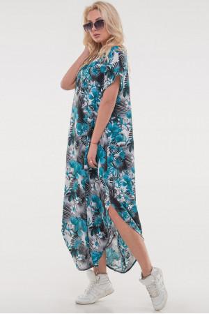 Платье «Николь-лето» бирюзового цвета с серым