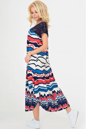 Платье «Брая» синего цвета с красным
