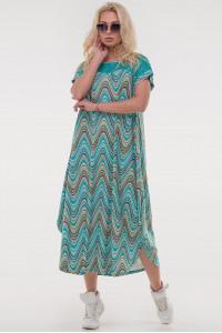 Платье «Брая» бирюзовый принт