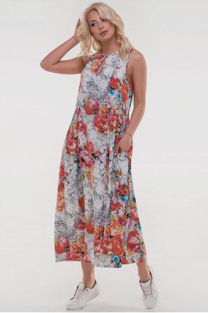 Платье «Беата» белого цвета с оранжевым