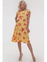 Платье «Лилас» желтого цвета с ласточками