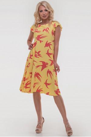Сукня «Лілас» жовтого кольору з ластівками