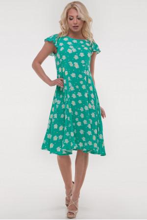 Платье «Лилас» зеленого цвета с ромашками