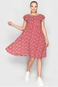 Платье «Лилас» красного цвета с цветочками