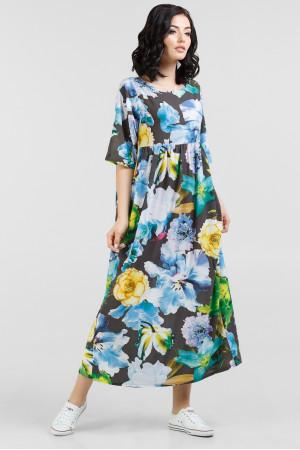 Платье «Тори» с синими цветами