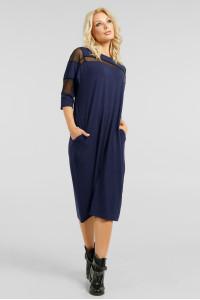 Платье «Визон» синего цвета