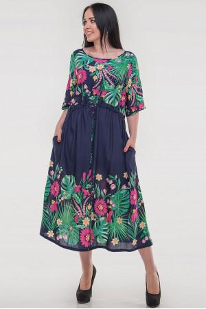 Платье «Тропик» синего цвета с розовым
