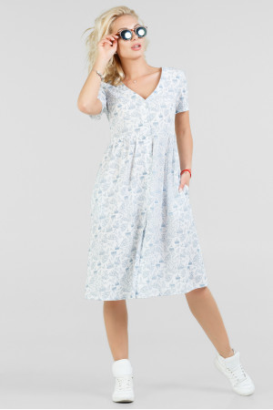Платье «Бьорк» белое с синим