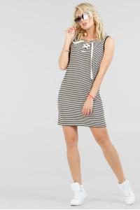 Платье «Карла» в узкую черно-белую полоску