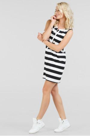 Платье «Карла» в широкую черно-белую полоску