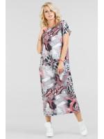 Платье «Айда» серое с розовым