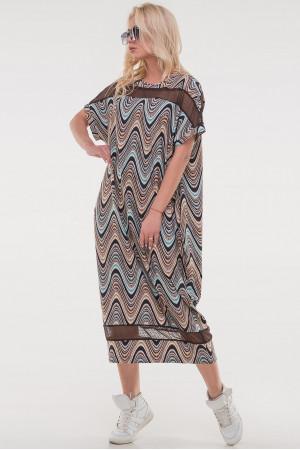 Платье «Бигольд» коричневого цвета с бирюзой