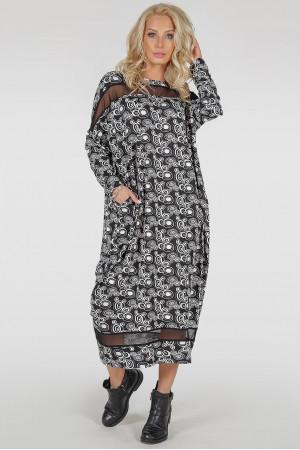 Платье «Бигольд» черно-белый принт