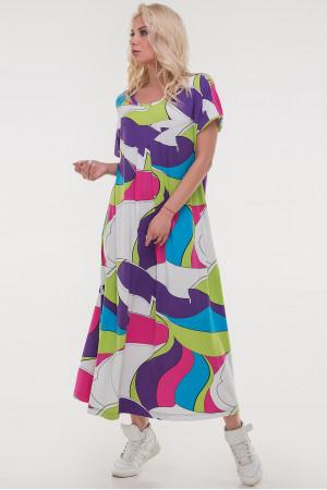 Платье «Трюдо» малинового цвета с голубым