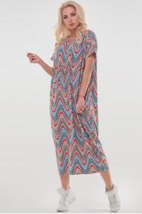 Сукня «Парнас» коралового кольору з блакитним