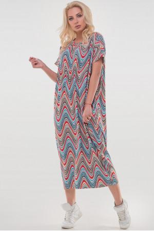 Платье «Парнас» кораллового цвета с голубым