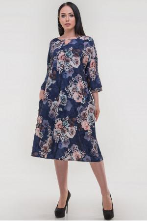 Платье «Саймель» синего цвета с цветами