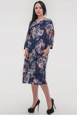 Сукня «Саймель» синього кольору з квітами