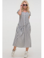 Платье «Калипсо» серого цвета с белым