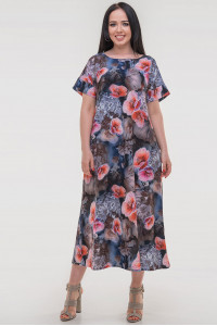 Платье «Гавор» синего цвета с красным