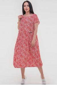 Платье «Ливика» красного цвета с белым