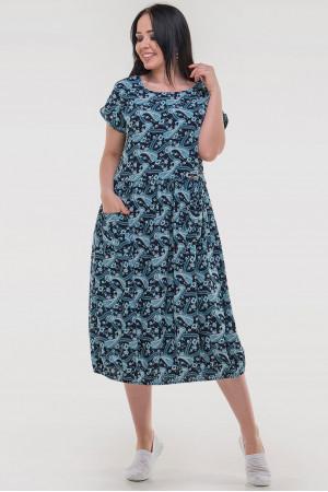 Платье «Ливика» черного цвета с бирюзой