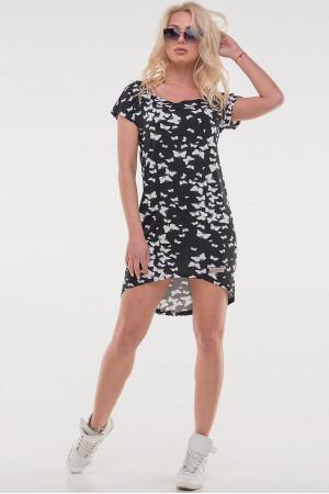 Платье «Сула» черного цвета с бабочками