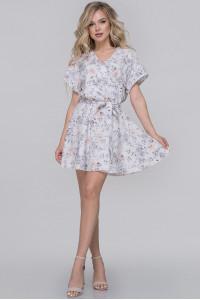 Платье «Меркури» белого цвета с серым