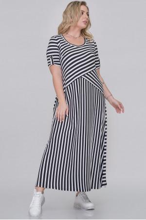 Платье «Галатея» в черно-белую полоску