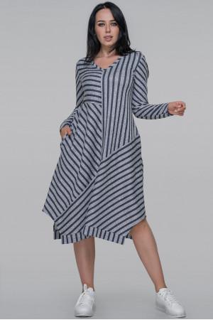 Сукня «Ежені-осінь» сіро-синього кольору