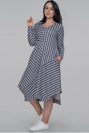 Платье «Эжени-осень» серо-синего цвета